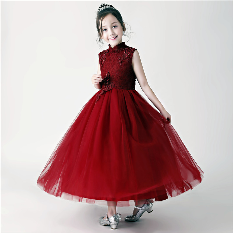 Chinese Style Burgundy Sunny Flower Little Girl Dresses Teens Children Mesh Beading Prom Gowns Kids Holy Communion Festive DressChinese Style Burgundy Sunny Flower Little Girl Dresses Teens Children Mesh Beading Prom Gowns Kids Holy Communion Festive Dress