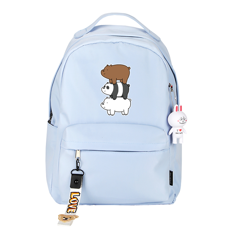 We Bare Bears Grizzly Panda IceBear Printing Backpack Candy Color School Bags For Teenage Girls Cartoon Laptop Backpack Rugzak