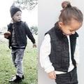 Nova moda do bebê dos miúdos crianças denim colete fresco cowboy colete inverno quente de lã grossa outwear
