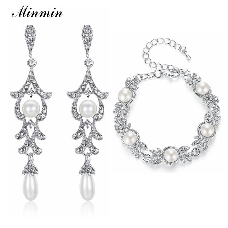 Minmin Noble Simulated Pearl Bridal Jewelry