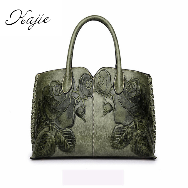 Kajie Brand 2018 Ladies Genuine Leather Bags For Women <font><b>Green</b></font> Luxury <font><b>Handbags</b></font> Female Flower Embossed Messneger Bag Totes Bolsa
