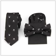tie bow tie handkerchief set print skull hanky pocket square polyester handkerchief bowknot handkie wedding red black blue  2018 new fashion exquisite elegant noble red square zircon necklace earring set wedding bride party dress dinner jewelry set