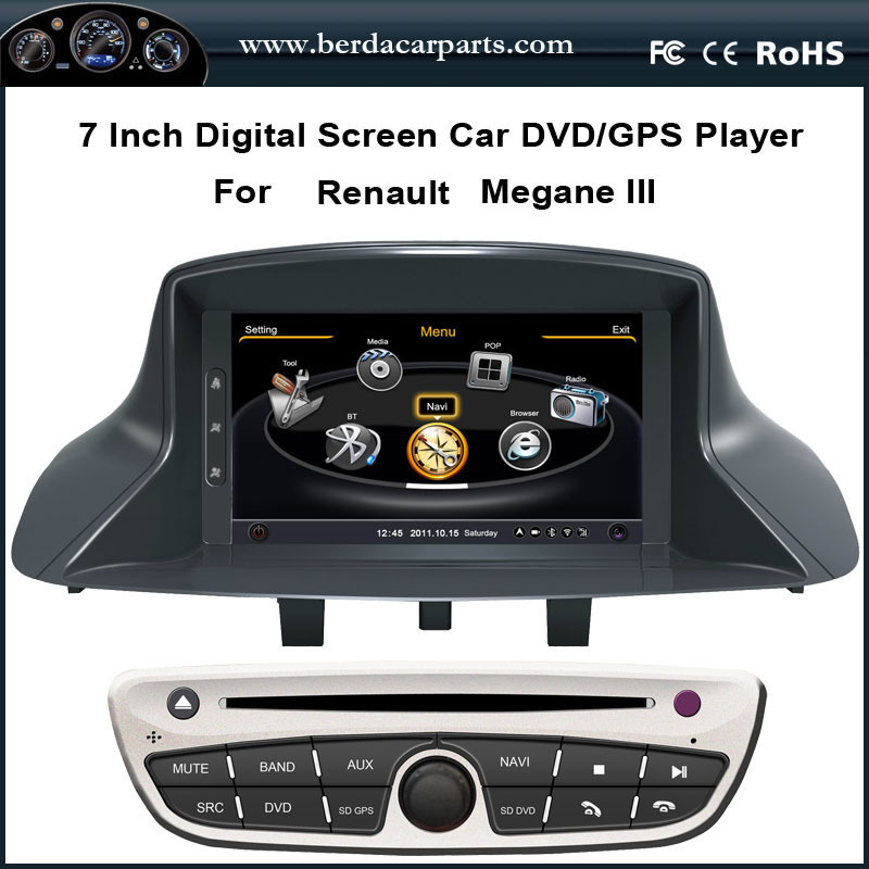 7 touch screen car dvd for renault megane 3 fluence with stereo gps navigation radio bt ipod usb. Black Bedroom Furniture Sets. Home Design Ideas