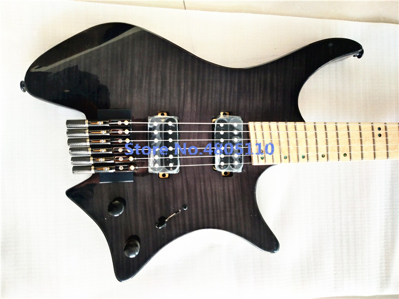 Inheritance of the classic headless electric guitar maple tiger pattern transparent black can be customized