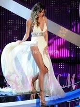 2016 v-ausschnitt Sexy Abend Dresse Kristall Straps A-linie Chiffon Spezielle Gelegenheit High Schlitz-abschlussball-kleid Party Kleid vestido de festa