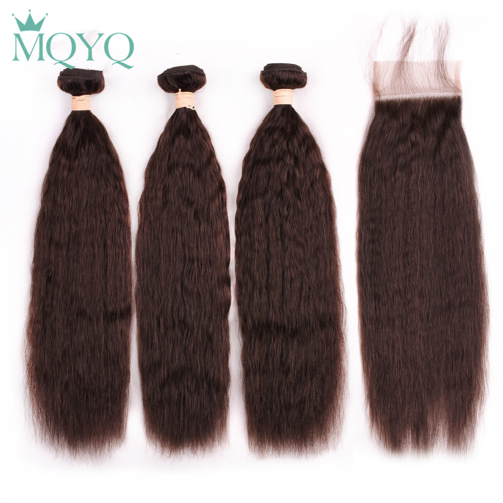 MQYQ Kinky Straight Human Hair Weave 3 Bundles With Closure #2 Dark Brown Malaysian Hair with Closure 4x4 Free Part Non Remy