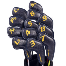 Champkey 12pcs Golf Iron Cover Headcover Black Colors PU Leather With Breath Holes Club Covers