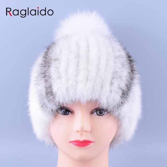 12 colores Mujeres Pieles De Visón Real Sombrero de Pompón Caps Señoras de la Alta Calidad de Mano de Punto Beanie Sombreros de Invierno LQ11153