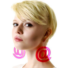 2019 New Cool Night Club Girls European Big Mouse Mail Symbol Fluorescent Rose Pink Letter Drop  Earrings Women earring