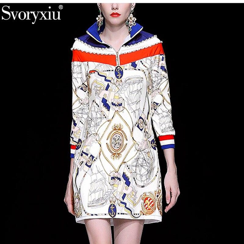 Svoryxiu Fashion Runway Short Dress Women s Long Sleeve Stand Crystal Diamond Stripe Print Motion Casual