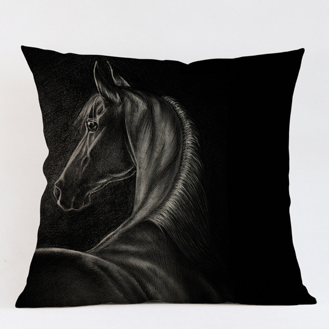 Black Horse Animal Emoji Pattern Decorative Cushion Cover Strong Gorgeous Horse Pillows Decor