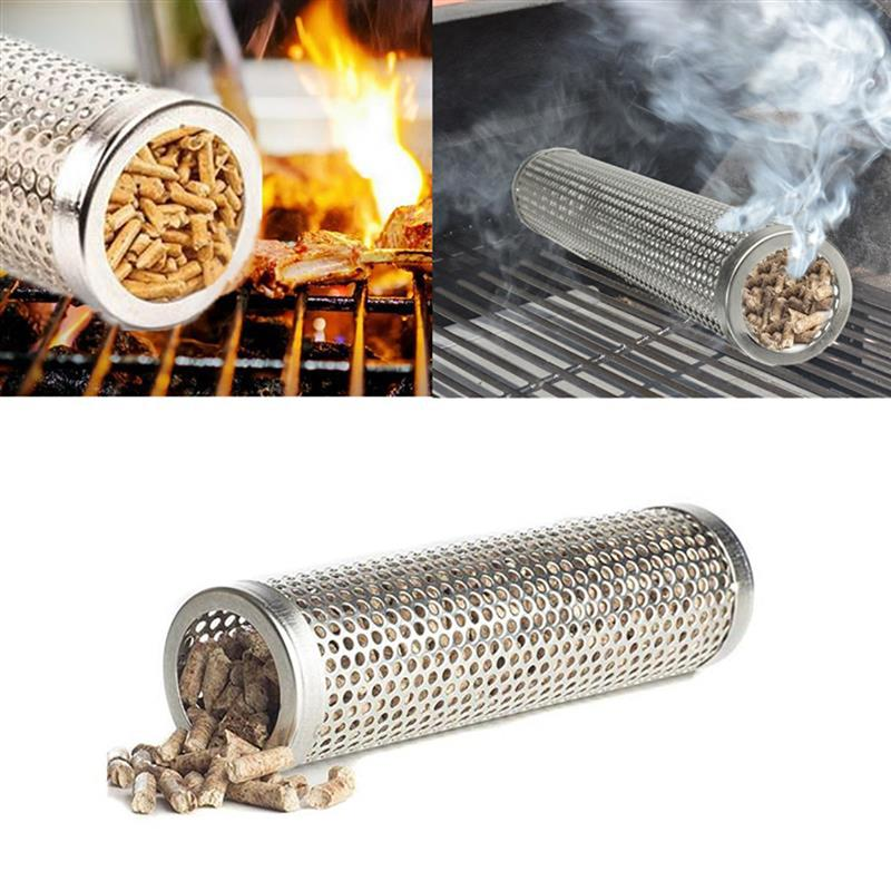 High Quality 6 In Pellet Smoker Tube Stainless Steel Grill Smoker Grill Perforated Mesh Smoker Filter Gadget Hot Cold Smoking image