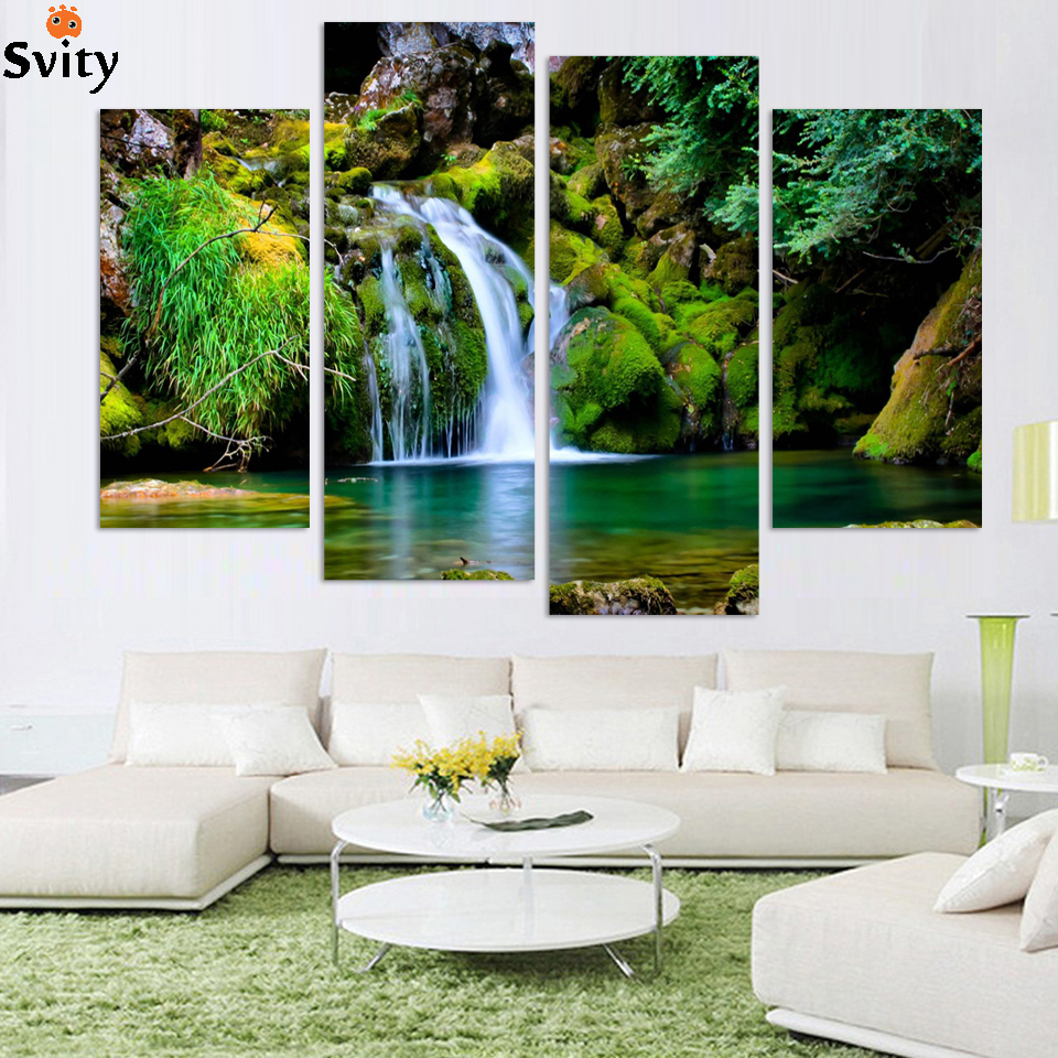 4panel Nature scenery waterfall trees painting home decoration canvas art wall hanging picture no frame