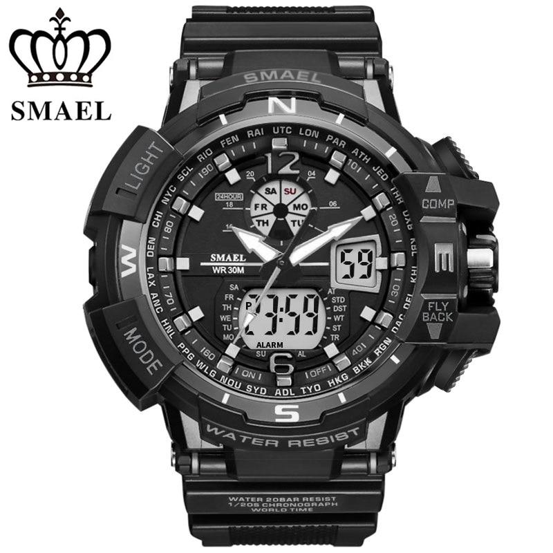 Digital Shock Dual Time Quartz Wristwatch Man Sport Military Clock Male