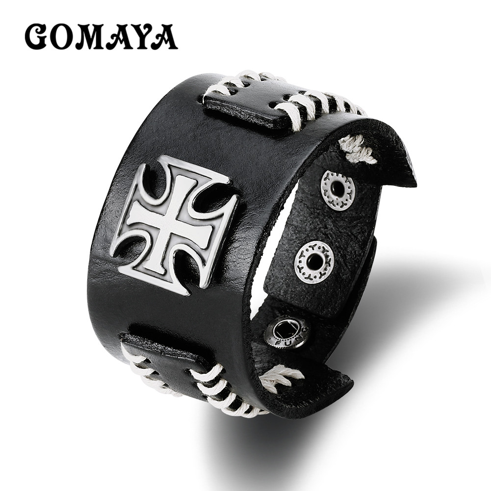 GOMAYA Cross Bracelet High Quality Wide Side Leather Bracelet Black/Brown Color Vintage Style Unisex Bracelet
