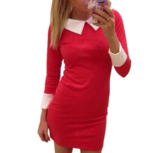 2016 Hot women dress polyester 3/4 sleeve turn-down collar casual Pencil Dresses plus size S/M/L/XL