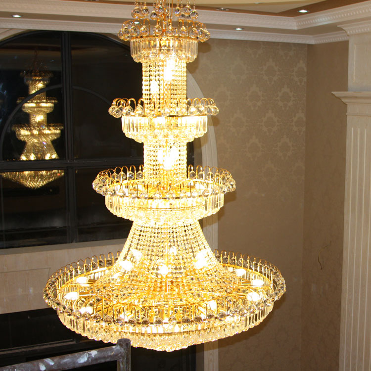 Modern Luxury Europe Large Gold Luster K9 LED Crystal Chandelier Light Fixture Classic Lamp Fitment for Hotel Lounge Decoration