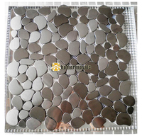 pebble design gray color brushed finished stainless steel metal mosaic tiles for living room kitchen backsplash metal mosaic
