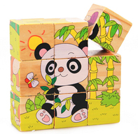 9 Parts Six Sides Image 3D Wooden Jigsaw Puzzle Animal Model Building Kits Kids Educational Game