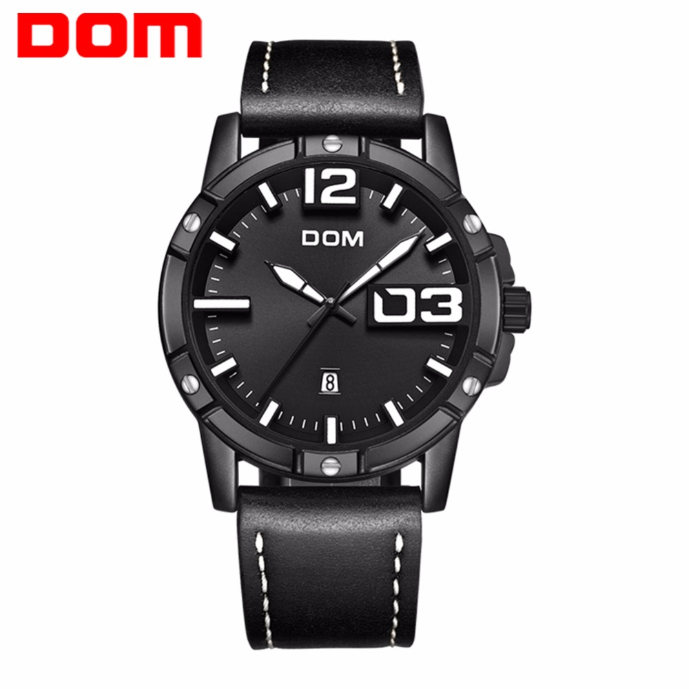 DOM Watch Men Fashion Stylish Sport Quartz Clock Mens Watches Brand Luxury Waterproof Leather Watch Relogio Masculino M-1218BL mens watches top brand luxury sport quartz watch dom m 132 leather strap clock men waterproof wristwatch relogio masculino