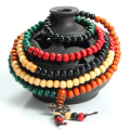 6mm 216 Natural Multi Colored Sandalwood Bead Bracelet Prayer Rosary Mala Jewelry Tibetan Buddhist Meditation Buddha Bracelet