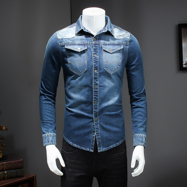 6c17e2fc960 Dril de algodón de Los Hombres clásicos Camisa de Manga Larga Dos Bolsillos  Jeans Para Hombre