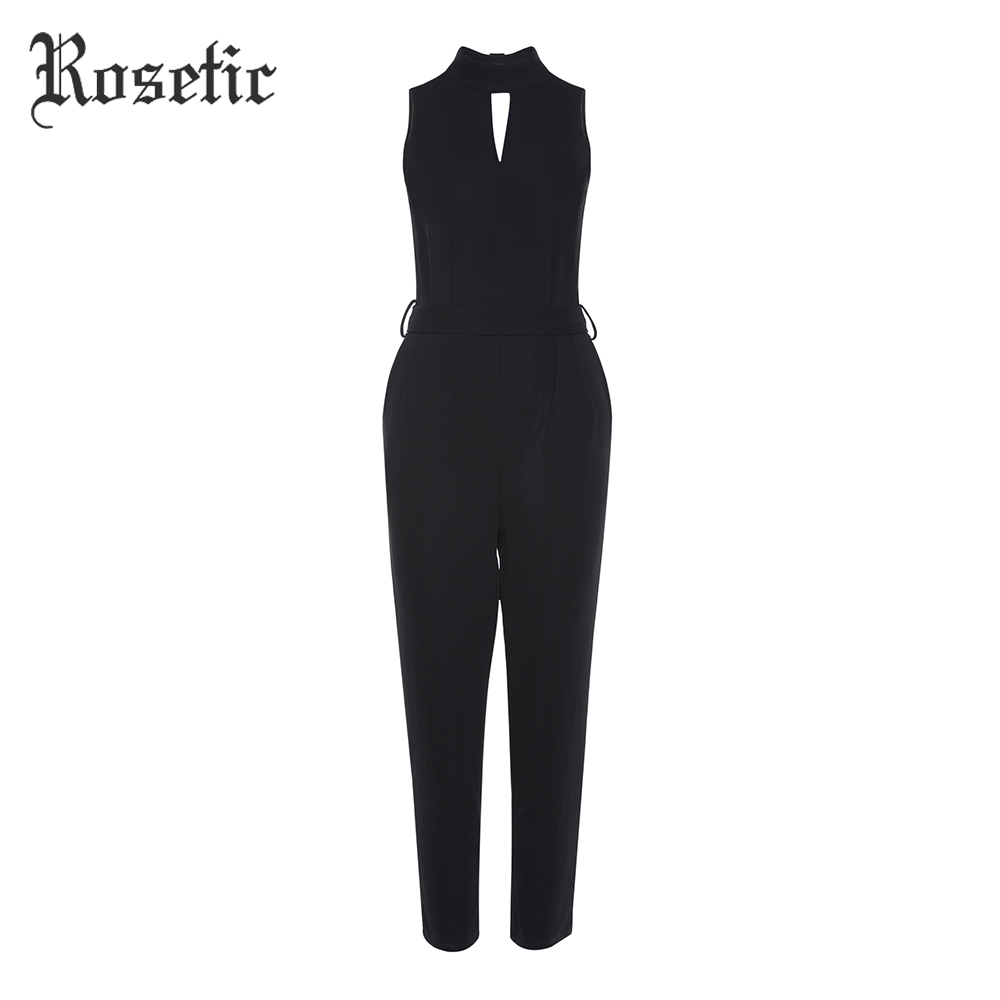 Rosetic Skinny Jumpsuits Casual Black Women Summer Sex Lace-Up Rompers Hollow Work Wear Pants Office Slim Fashion Goth Jumpsuits