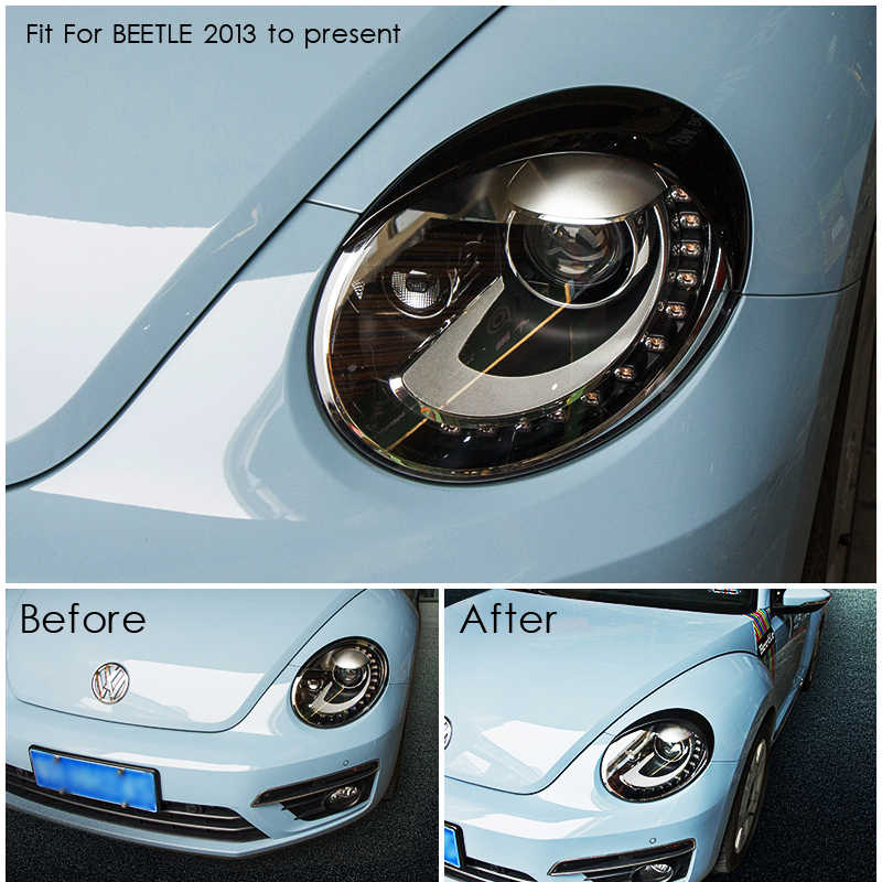 Fit For Valkswagen New Beetle Headlight Head Light Frame Cover Surround Abs Sticker Eyebrows