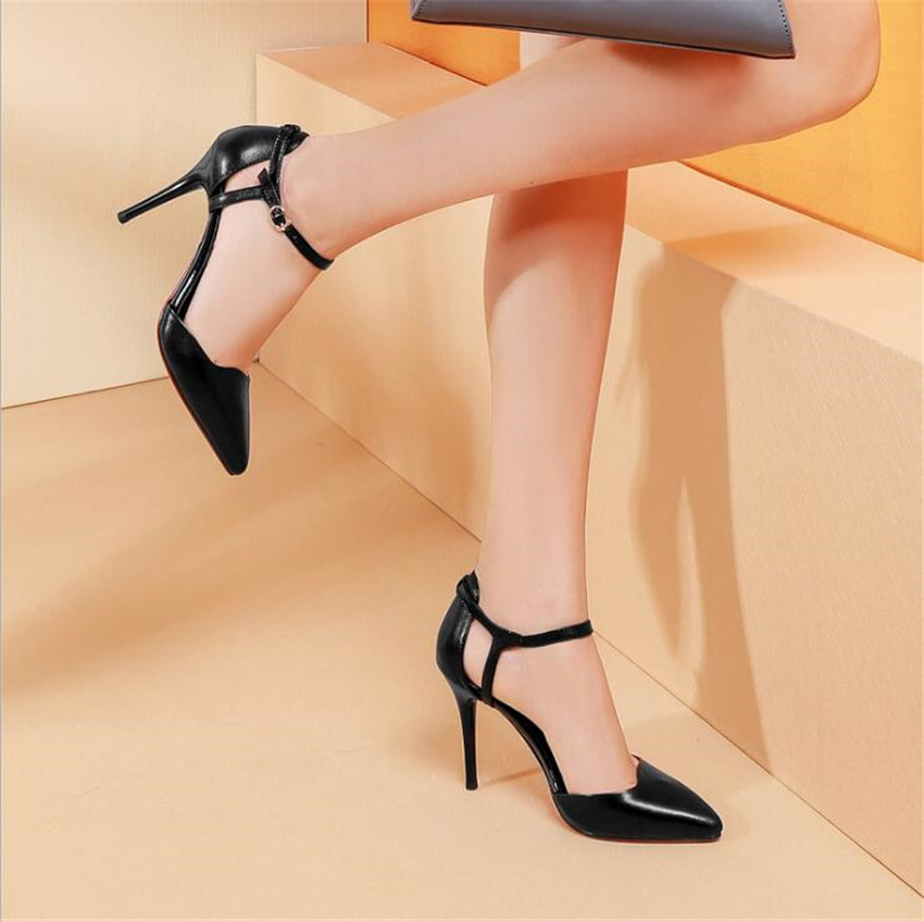 ZOUDKY Leather thin and pointed hollow female diamond metal clasps high-heeled shoes