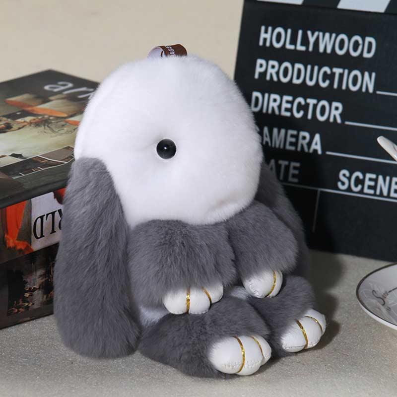 купить Real Fur Rabbit Keychain Fashion Key Ring Genuine Rex Rabbit Furs Bunny Keychain pendant Bag Car Charm Tag Cute Rabbit Toy Doll по цене 269.46 рублей