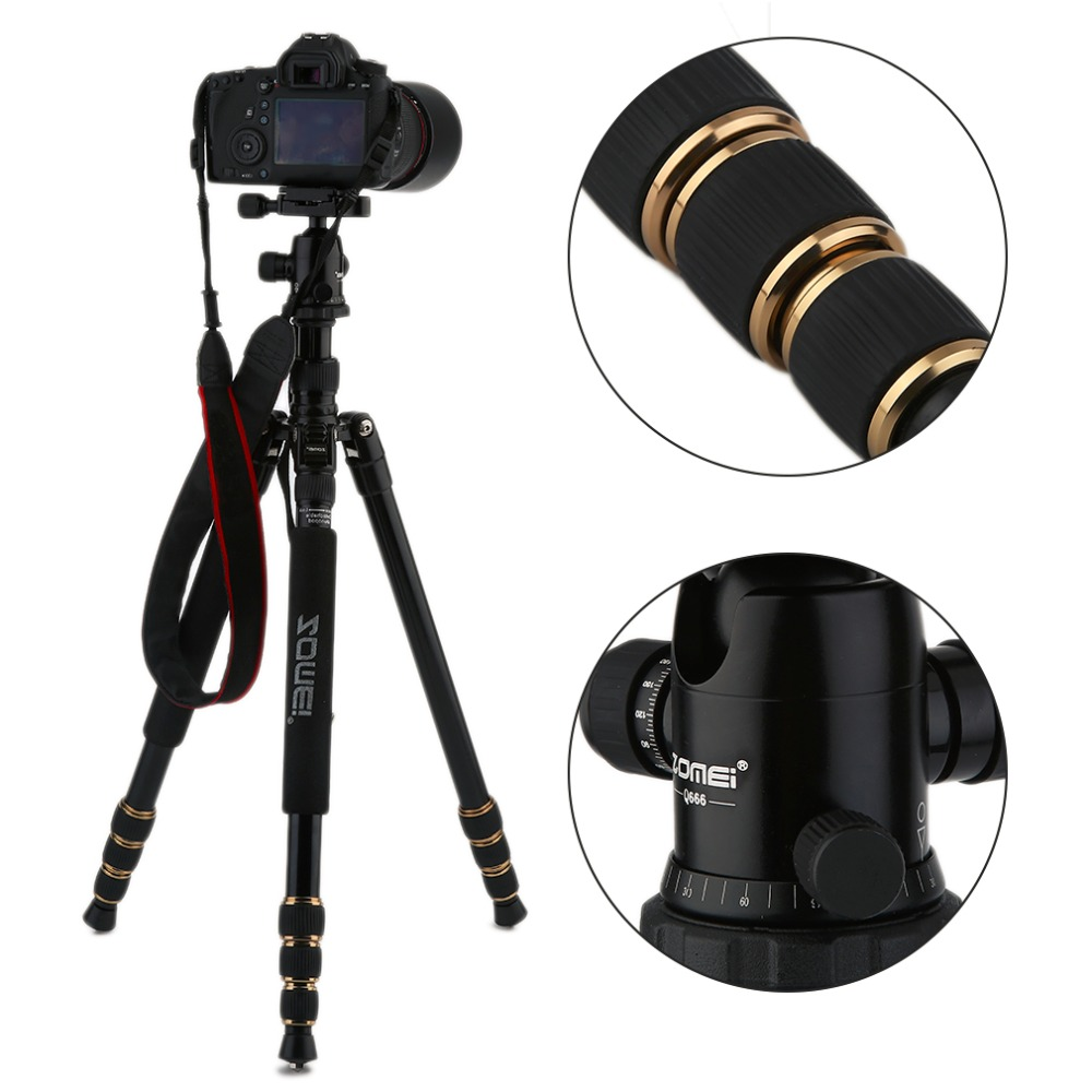 Q666 Zomei Professional Magnesium Alloy Digital Camera Traveling Tripod Monopod For Digital SLR DSLR Camera aluminium alloy professional camera tripod flexible dslr video monopod for photography with head suitable for 65mm bowl size