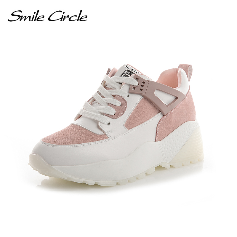 Smile Circle 2018 Spring Women Sneakers Thick bottom Shoes For Women Lace-up Flat Platform Shoes White Fashion Casual Shoes