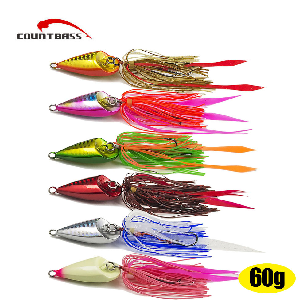 6pcs 60g 2 1oz Japanese Style Salty Rubber Jig with Assist Hook RJ032 Squid Jigging Saltwater
