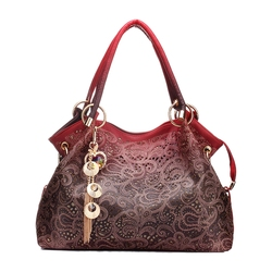TEXU/Для женщин кожаные сумки выдалбливают Градиент кисточка сумка бренда дамы плече Курьерские сумки