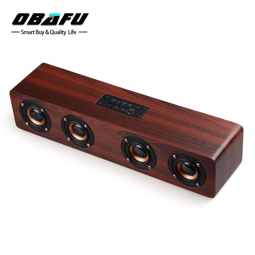 Retro Wooden Bluetooth Speaker 4 HiFi Speakers TF Card AUX Subwoofer Portable Loudspeakers For TV Home