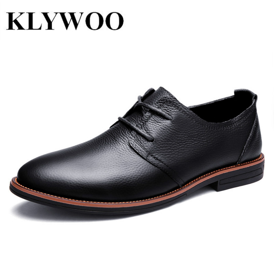 KLYWOO Fashion Oxfords Men Genuine Leather Casual Men Shoes Spring Breathable Men Casual Shoes Dress Moccassin Zapatos Hombre