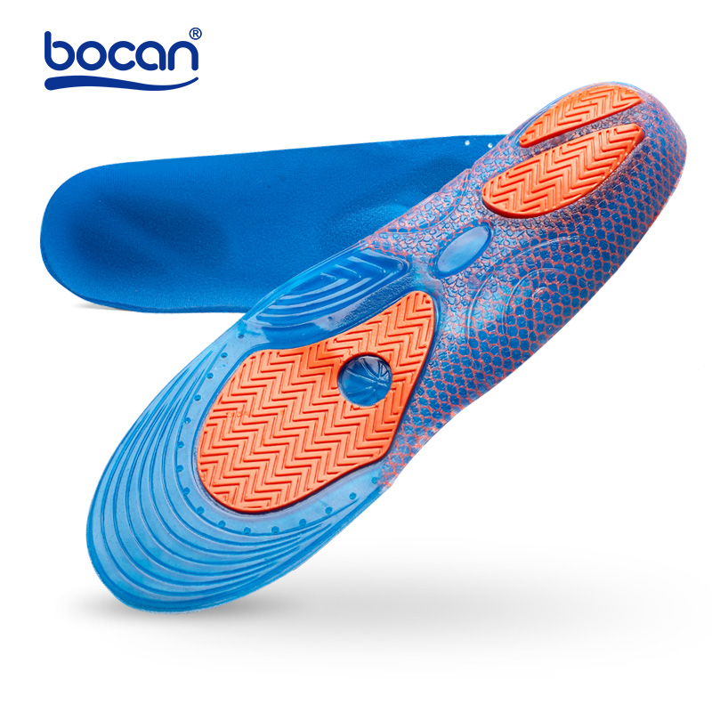 Bocan Gel Insoles Shock Absorption Soft Comfortable Sport Insoles For Men And Women Foot Pain & Plantar Fasciitis Relief, Blue
