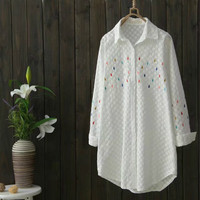 Women Vintage Loose Raindrop Embroidery Long Shirt Long Sleeve Turn Down Collar Blouse Female Retro Basic