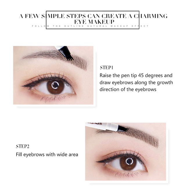 Music Flower Waterproof Microblading Eyebrow Tattoo Ink Pen Ultra-thin Carving Eyebrow Tattooing Pencil Sweat-proof 4 Head Fork 5