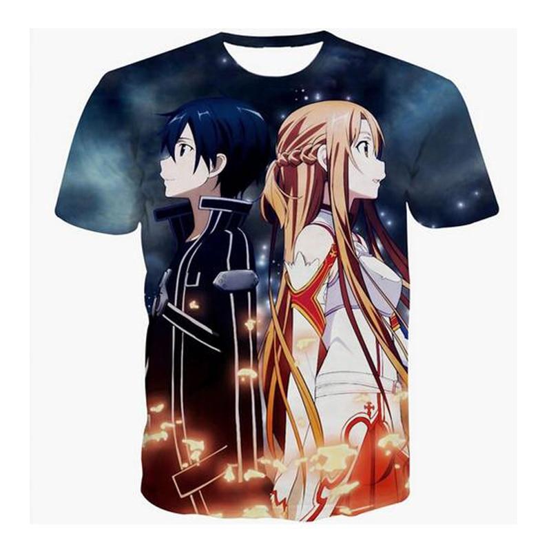 Full Print Fashion SAO T Shirt 3D Anime Sword Art Online T-Shirt Women Men Summer Casual Tee Shirts Fitness Summer Tops Dropship