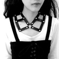 Punk Rock Gótico Harajuku Muchacha de Las Mujeres de Cuero Hechos A Mano Marco Jaula Collar Gargantilla Necklace