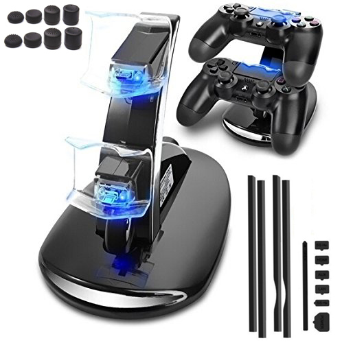 PS4 Pro Controller Dual USB Charging Dock Charger+Dust Proof Pack Jack Stopper Kits+8 caps For Playstation 4 Pro PS4 Pro Console