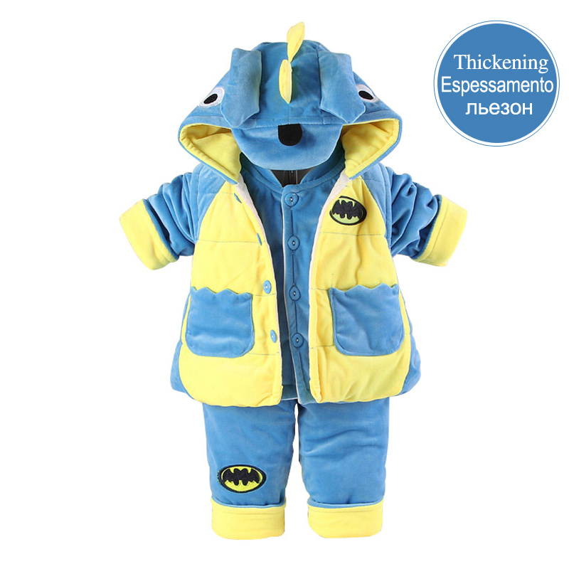 2017 Flannel Dinosaur Cotton padded Baby Boy Clothing Baby Set 3 Pieces Coat+Vest+Trousers Infant Clothing for 0 2 Years