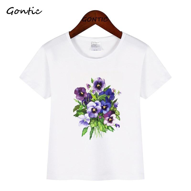 Boy Tops Wear Baby T-Shirts Flower Toddler Tees Floral-Plant Kids Fashion Children Summer