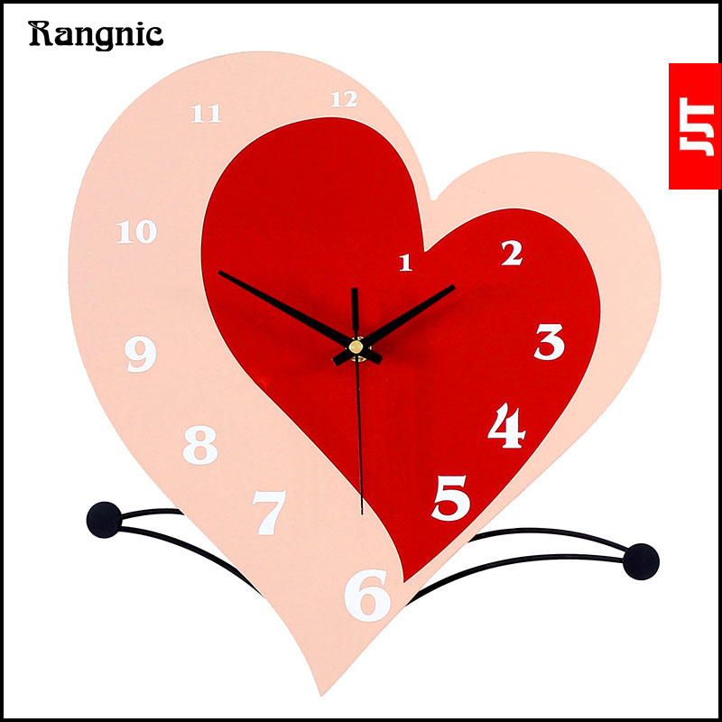 Rangnic 2017 New Silent romantic Creative Heart large decorative wall clock Living Room Home watch wall DIY modern wall clocks
