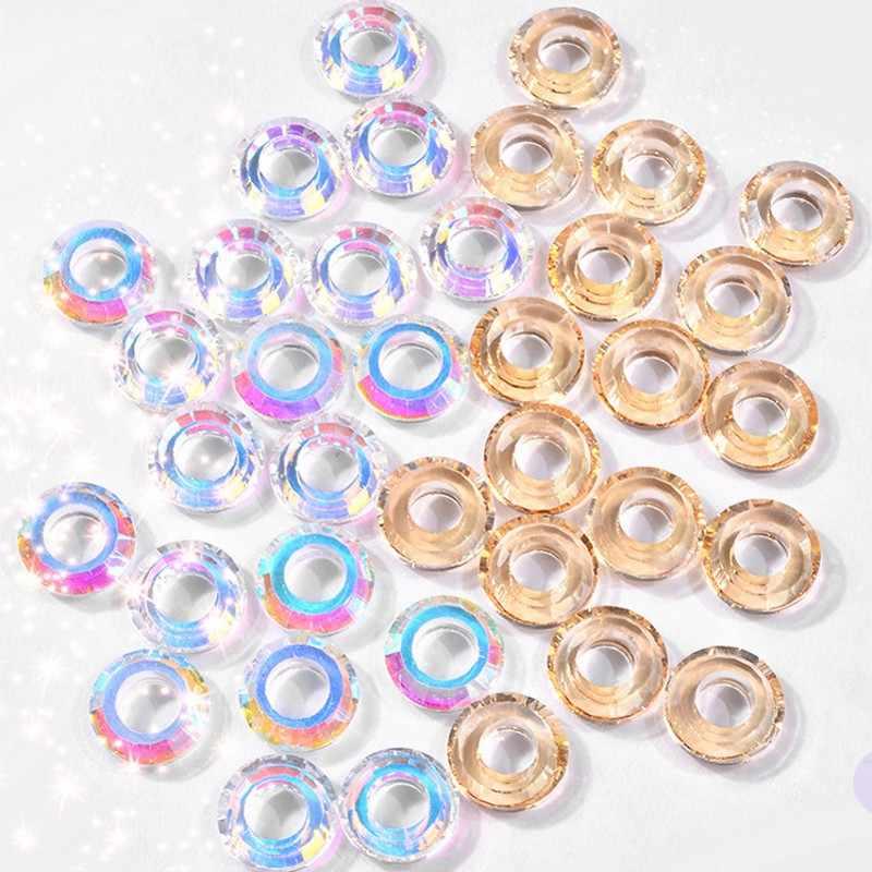 10 ชิ้น/ล็อตคริสตัล Angel แหวน 8 สีเล็บ Art Rhinestones AB 3d DIY กระจกตกแต่ง Glitter Nail Art อุปกรณ์เสริม 701 #