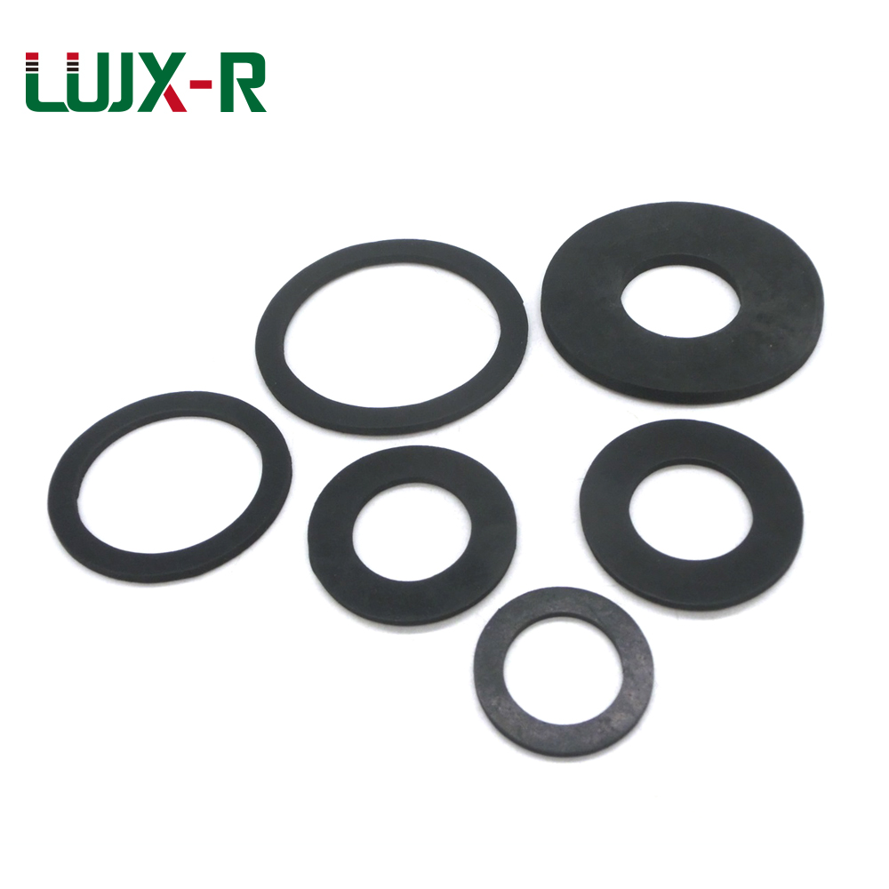 LUJX-R Thickness 2mm 10pcs Flat Gasket Rubber Black O Type Sealing Rings NBR Plain Washer for Pressure Gauge Waterproof ID5/6mm