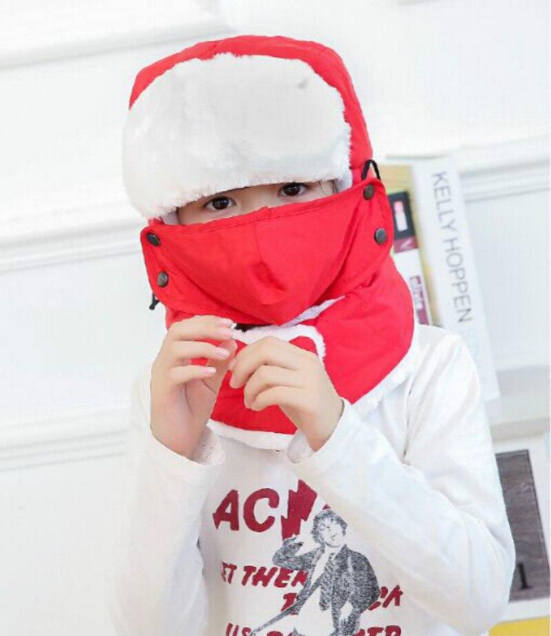 Которая в душе семья мех бомбер шляпа для женщин и мужчин ушные щитки Русская Шапка Детская уличная теплая утолщенная зимняя шапка с шарфом маска - Цвет: kids red