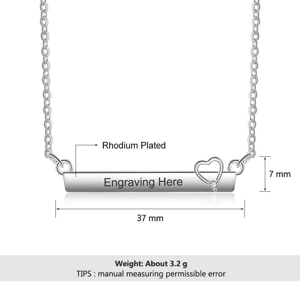 Colliers personnalisés plaqué Bar avec pendentif coeur creux collier Simple promis bijoux mode collier personnalisé pour les femmes