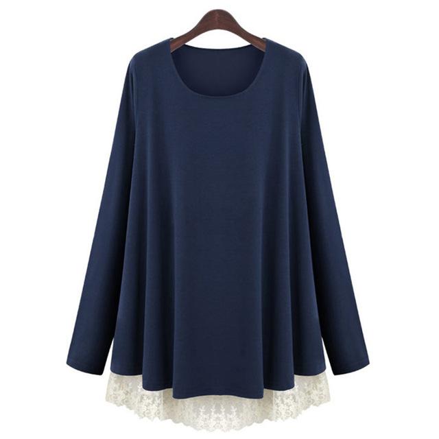 Primavera novo estilo de europa e américa plus size clothing patchwork de renda solta das mulheres falsos two-piece tops de malha t-shirt casaco